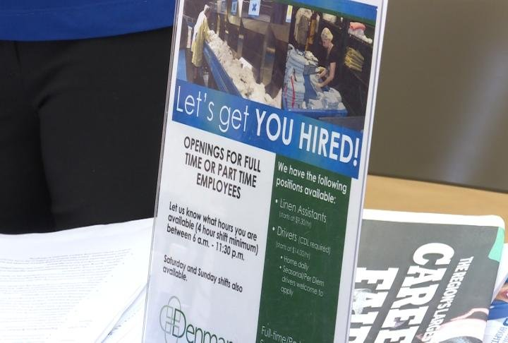 Sign display shows off details on jobs at Blessing Hospital.
