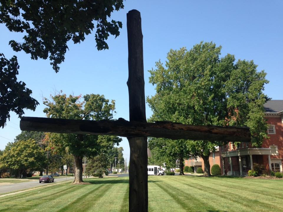 Photo of the burned cross posted on social media by the church. (Used with permission)