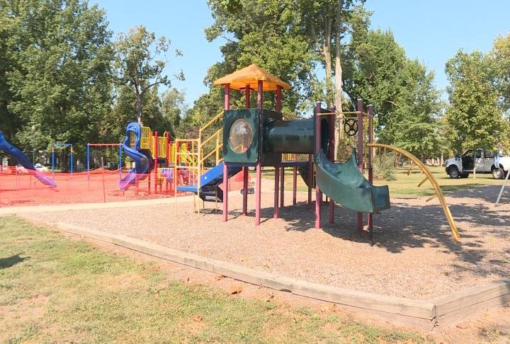 The old playground and swing set will be removed.