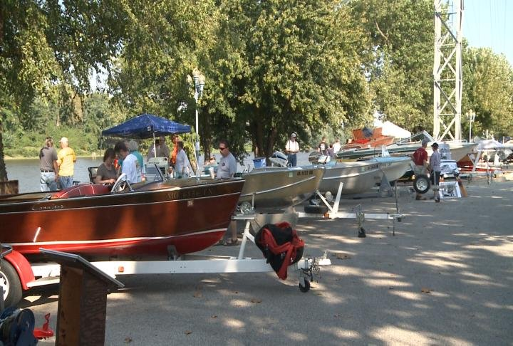 Some of the boats were on display in front of the boat club.