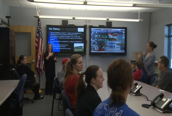 Deaf students from QU and Quincy Public Schools and members of the deaf community visited the Quincy/Adams County 911 Center.