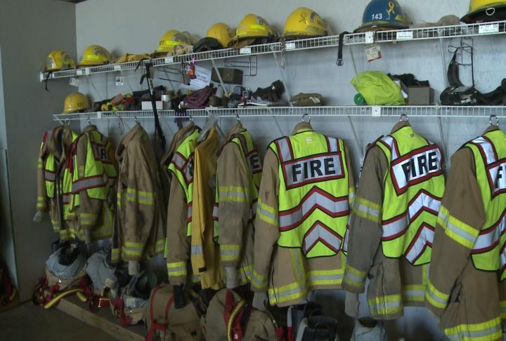 Bunker gear hang inside the Canton Fire Department building.