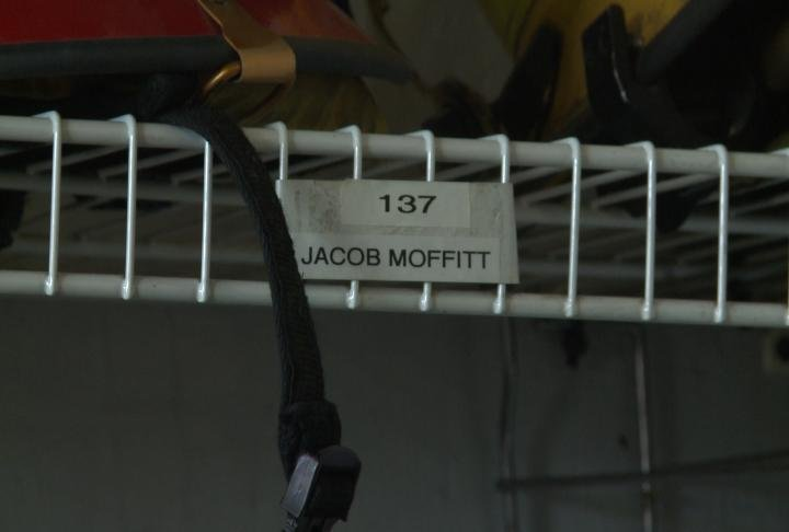 A sign indicates where the gear of Capt. Jacob Moffitt is.