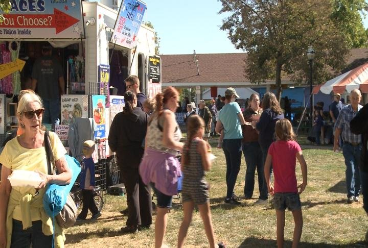 The Apple Festival in Barry was crowded on Saturday.