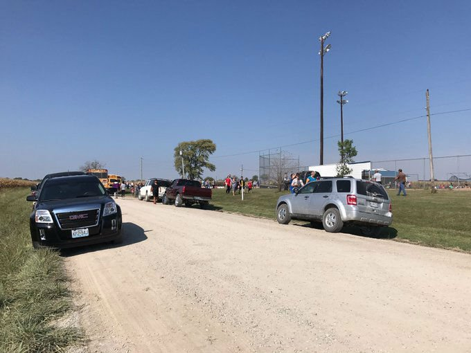 Kids were taken to the baseball field behind the elementary school.