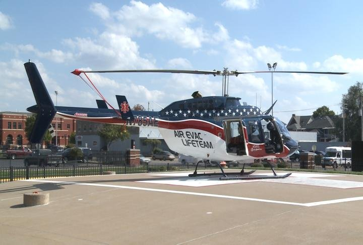 Air Evac Helicopter sits on the landing pad.