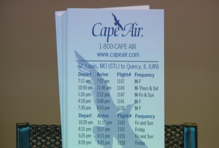 Handout details Cape Air flight times.