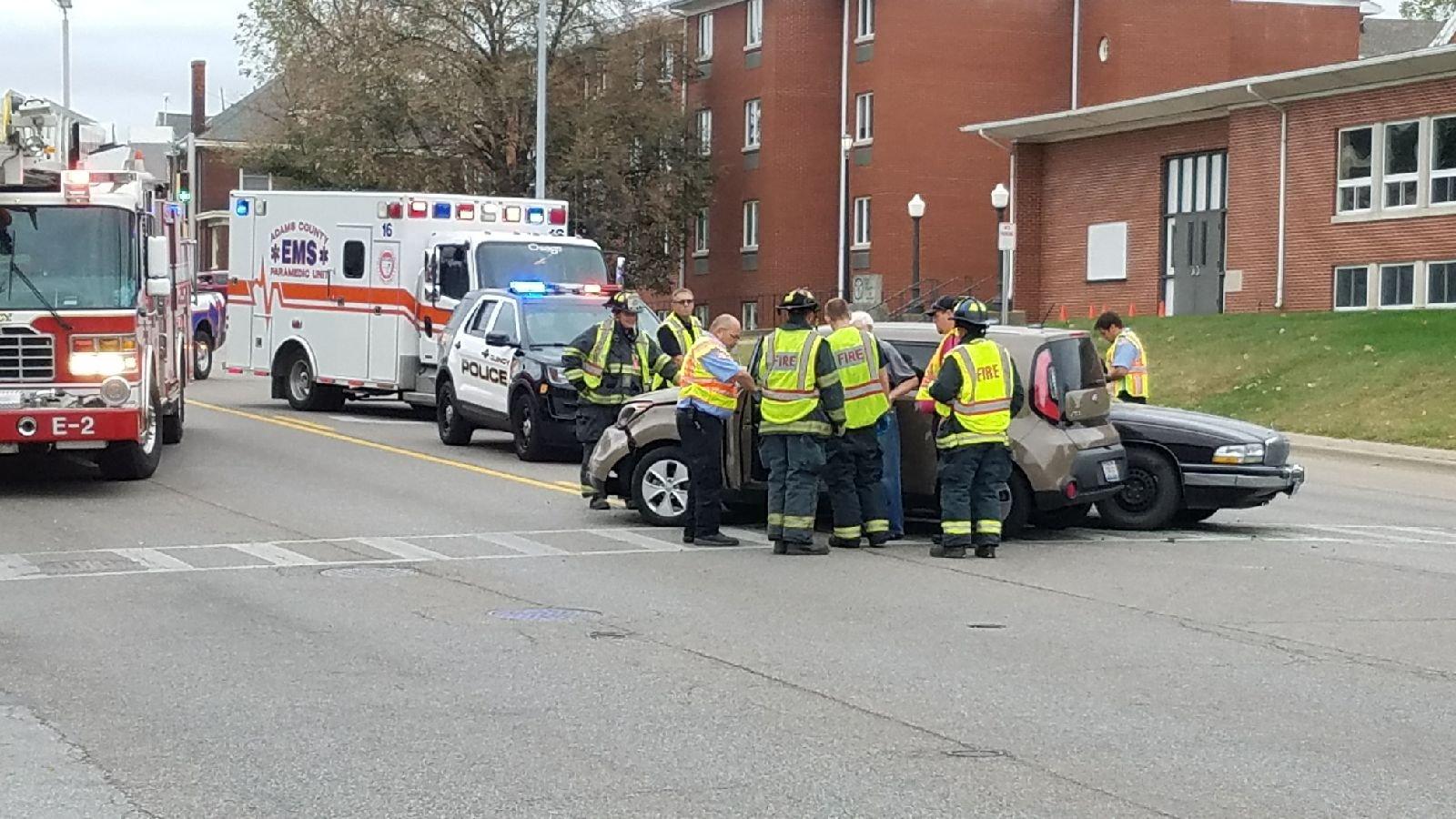 Emergency crews work at the scene.