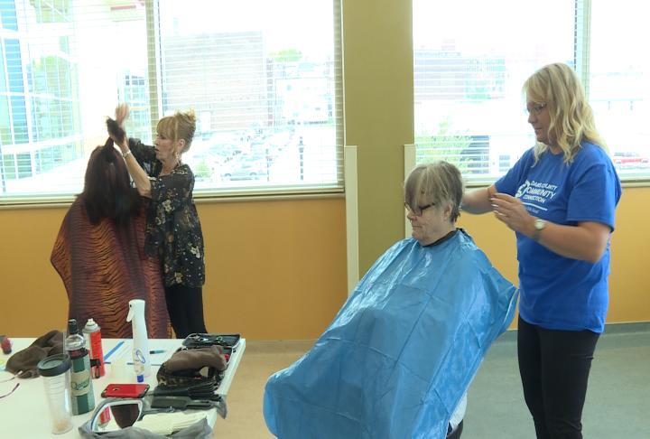Hair cuts were given at the fair