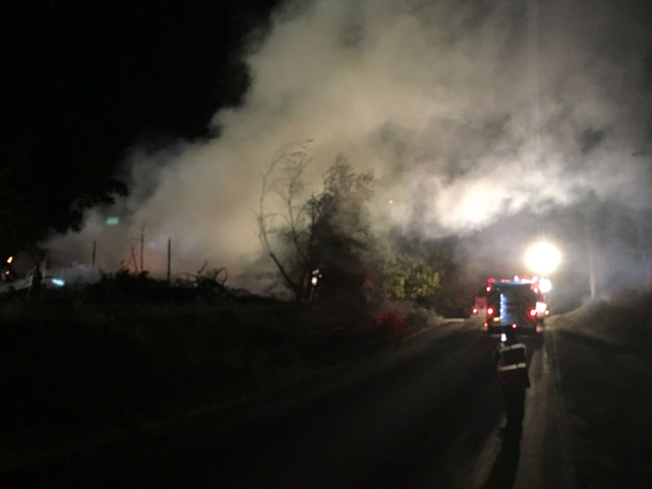 A view of the smoke coming from the house following a fire Tuesday night.