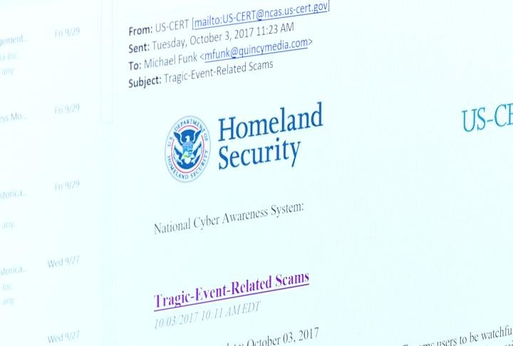 The warning about scams from the Department of Homeland Security