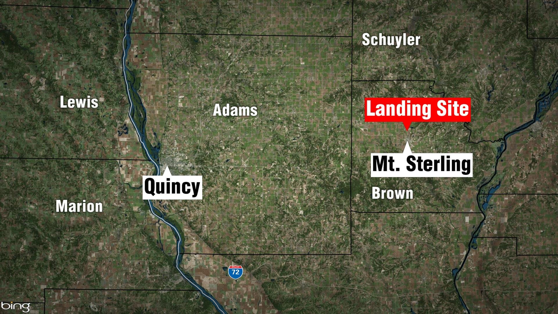 Approximate location of the landing.