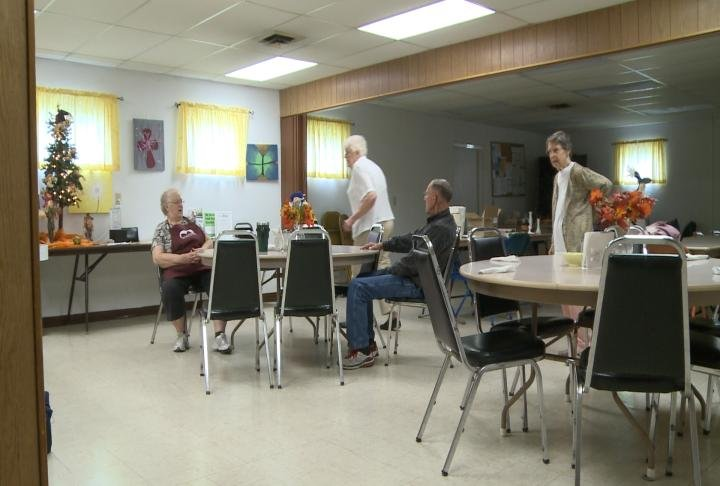 Residents meeting at the center Wednesday morning.
