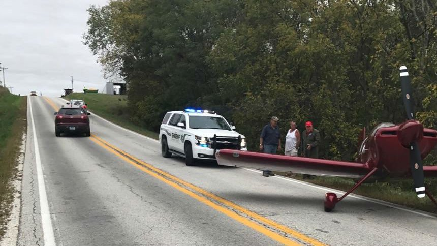 The plane landed on Illinois 99 Wednesday afternoon.