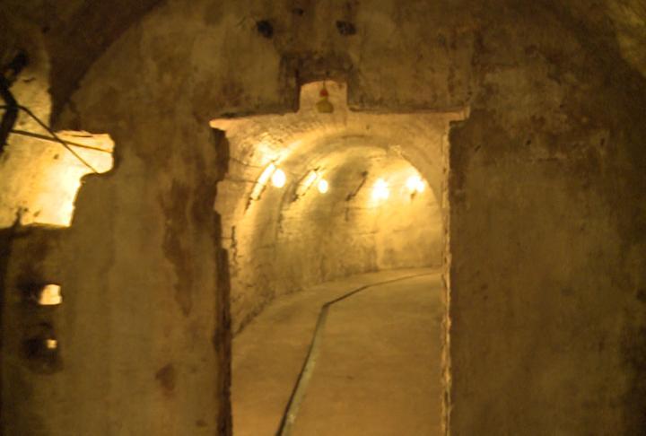 Lights line the underground tunnels found under the brewery.