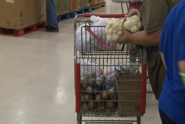 Residents filled up carts with food items.