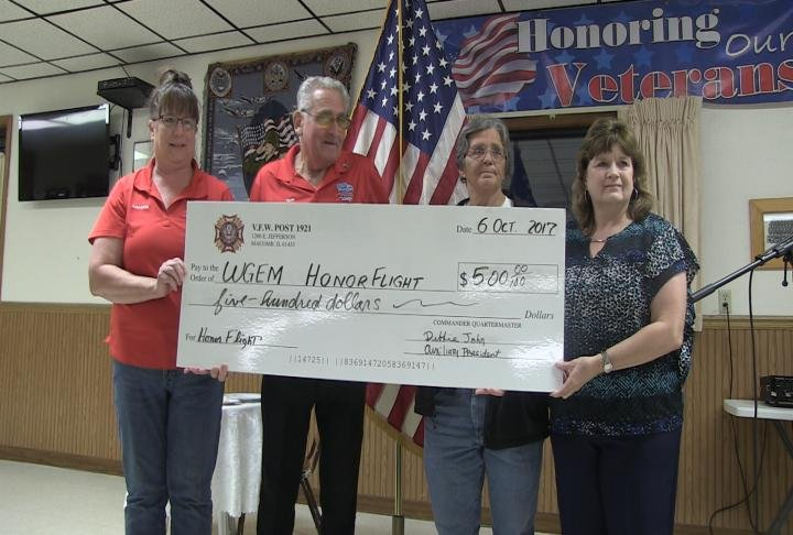 Check for $500 from Commander of VFW Post.