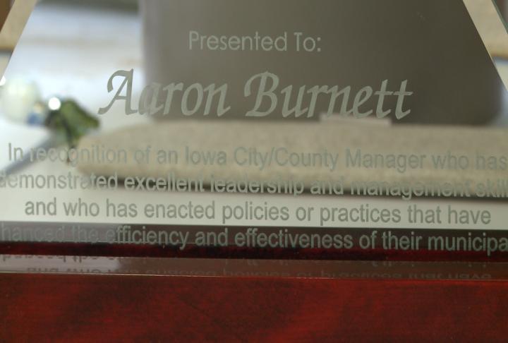 Burnett's name on the award.
