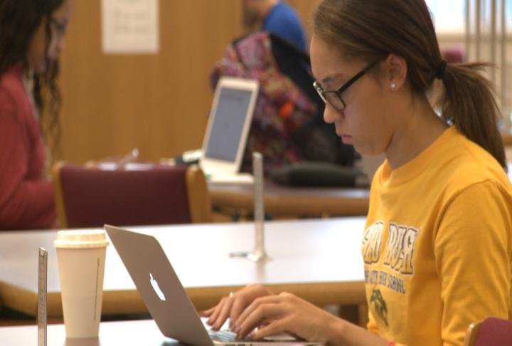 Student working on the FAFSA.