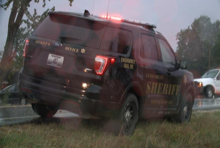Lewis County Sheriff's deputy at the scene of the crash. Traffic was backed up because of the crash.