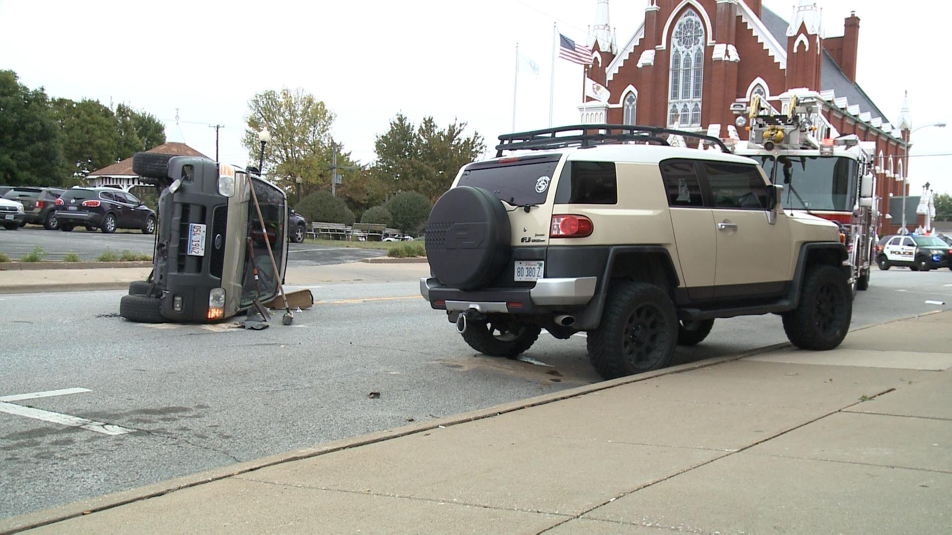 An SUV ended up on its side following a crash in Quincy Wednesday.