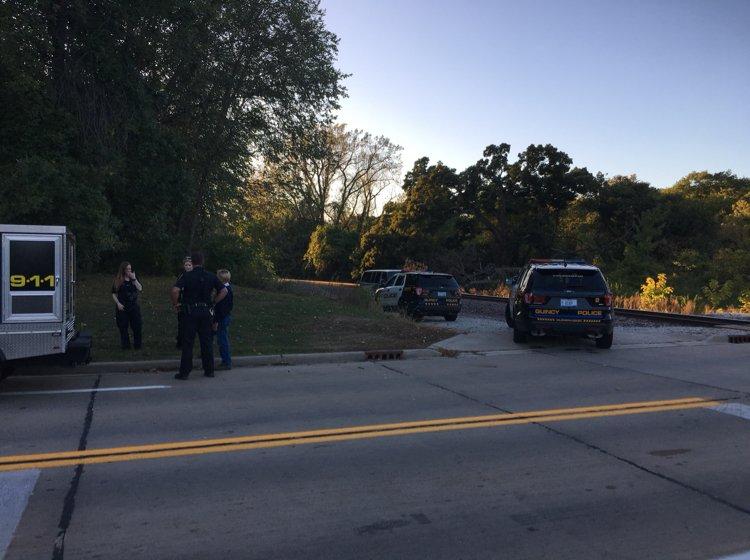 Police at the scene investigating Saturday.