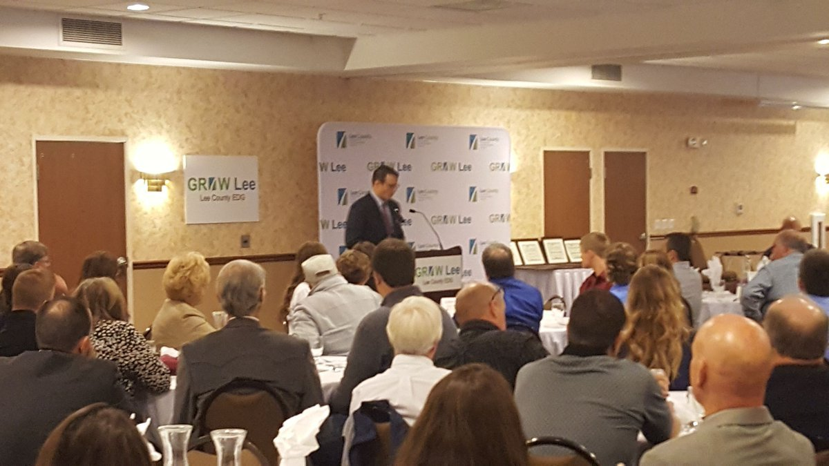 Lt. Gov. Adam Gregg speaking to manufacturers about high speed internet for better connections in rural Iowa.