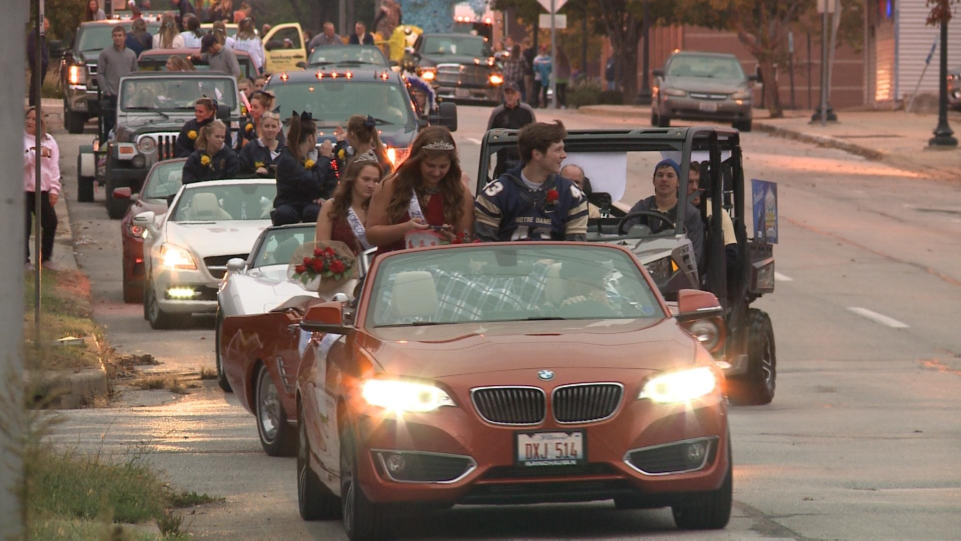 Students from Quincy Notre Dame in Thursday's homecoming parade.