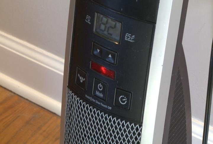Space heater turned on in room.
