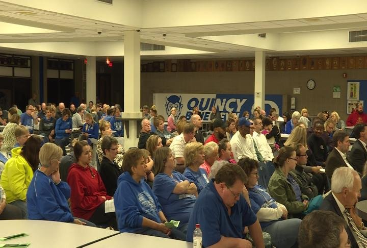 Many Quincy Federation members attended the board meeting Wednesday night
