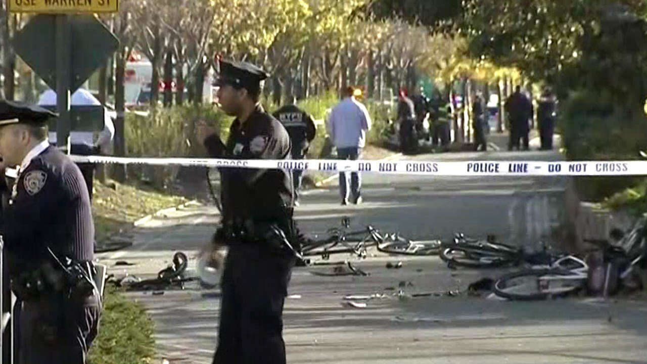 The bike path that shows the damaged bicycles.