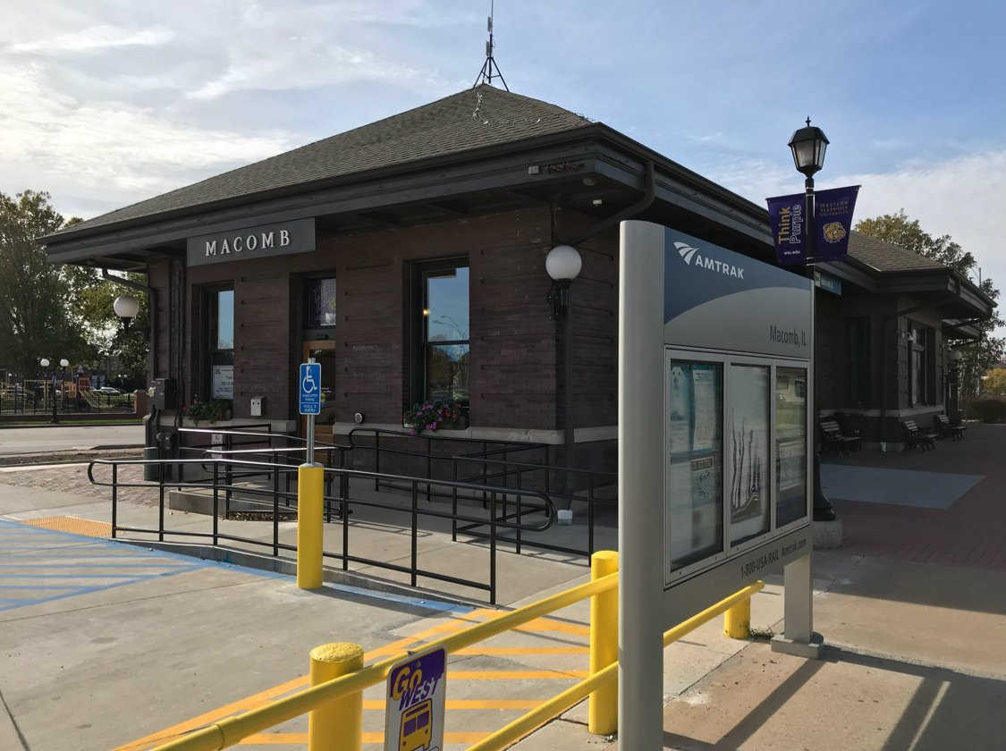 The Amtrak station in Macomb