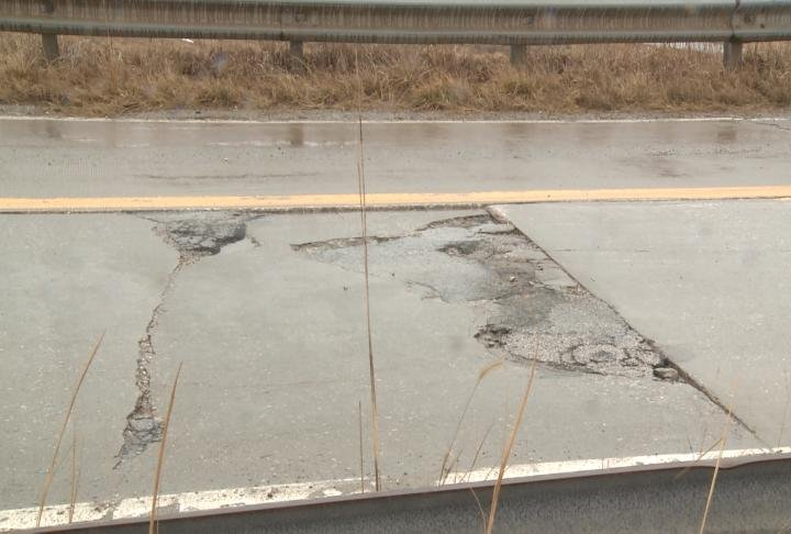 Deterioration on the old overpass bridge. (File Photo)