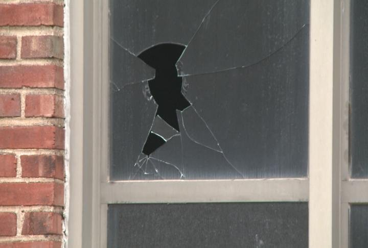 Vandals strike at old Stowell Elementary School.