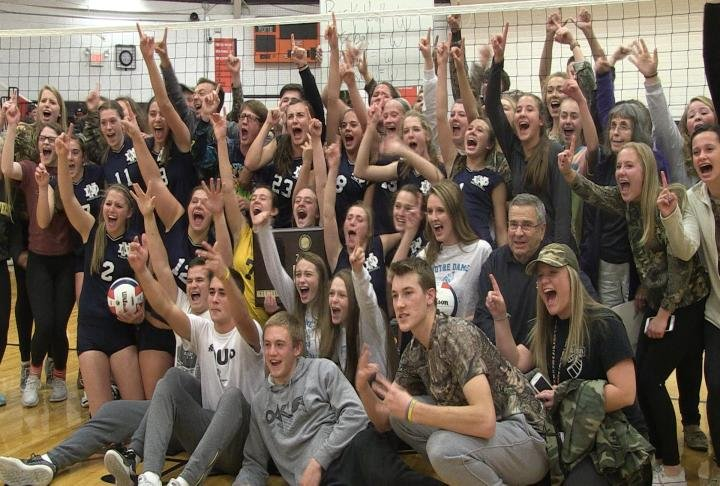 The QND volleyball team took down Pleasant Plains in straight sets to win the New Berlin Sectional championship.