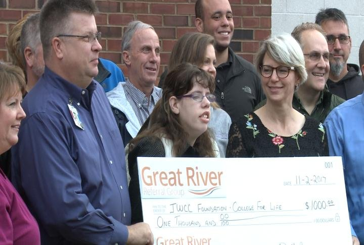 Great River Referral Group donated $1,000 to the College for Life program at JWCC.