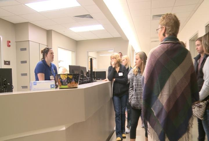 Students talking with current nursing students