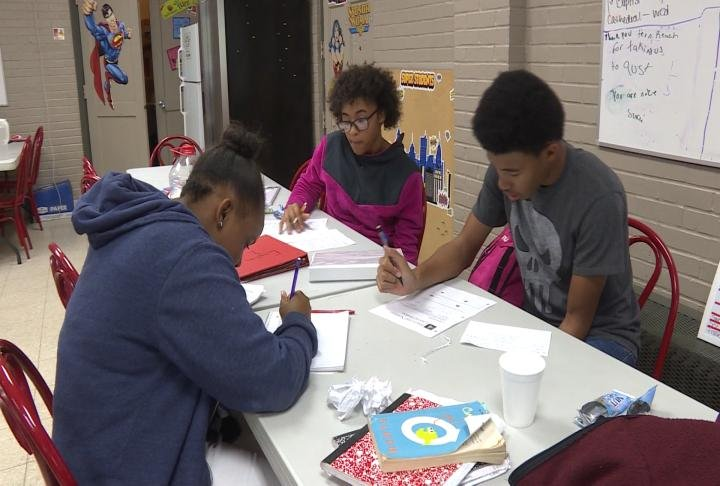 Students work on homework at Quincy's Teen REACH.