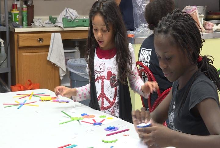 Students work on art projects.