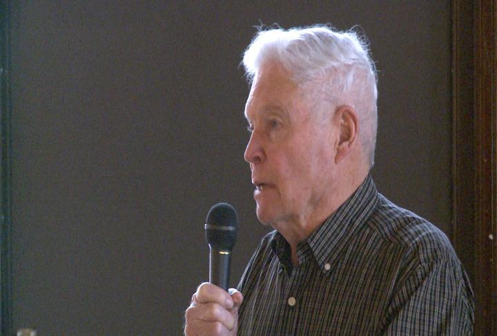 Warren Speckhart addressing the crowd.