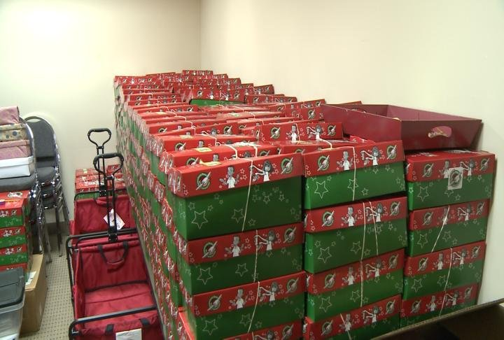 Stack of boxes packed in the church.
