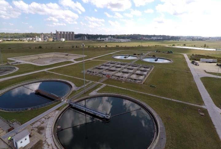 Aerial view of the Waste Water Treatment Plant.