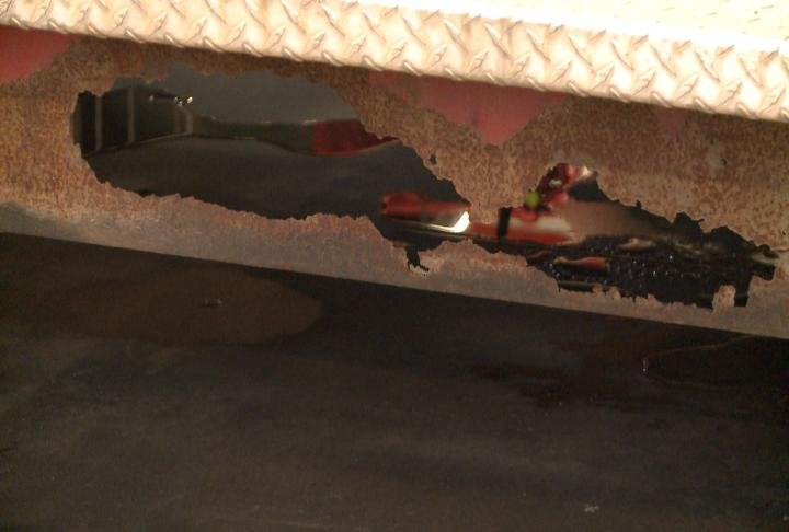 Rust caused holes in one of the reserve trucks.