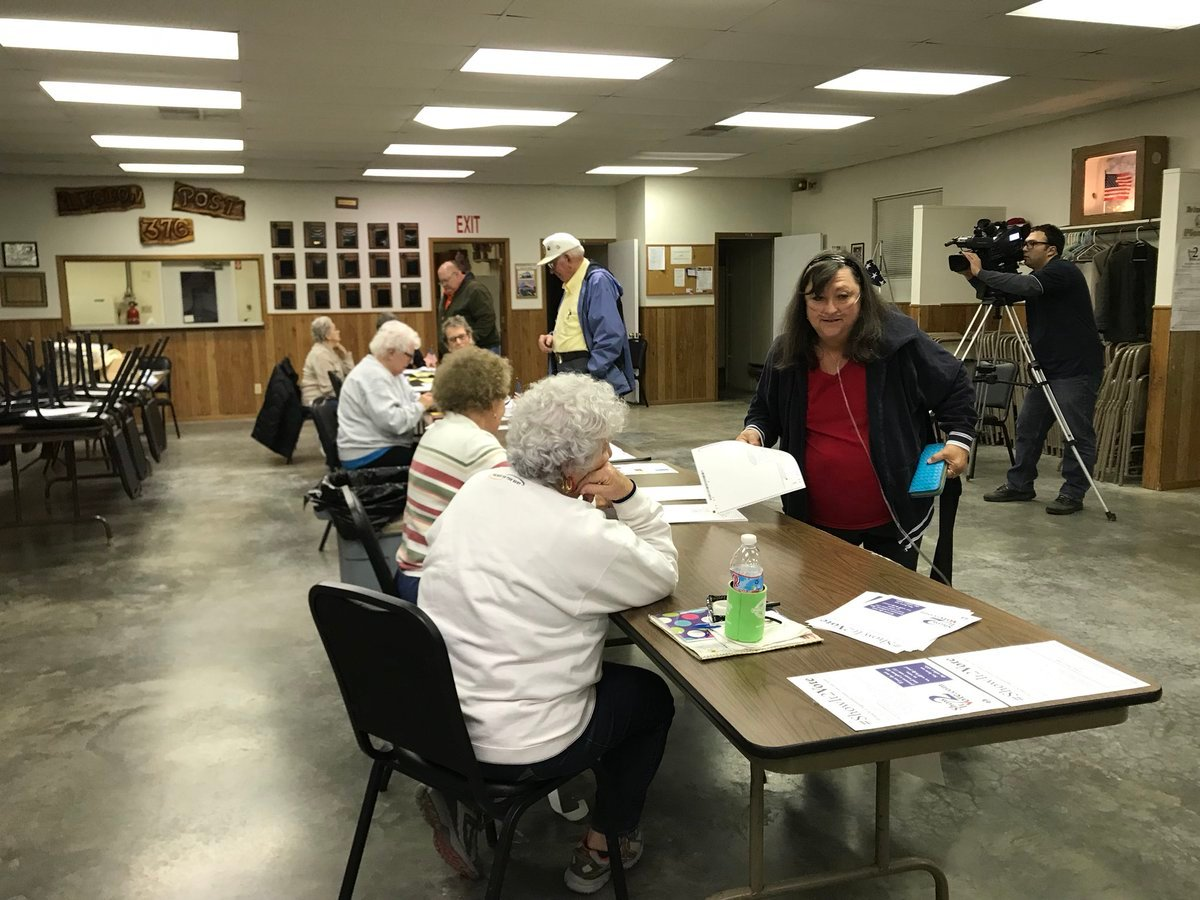 Voting on Tuesday in Shelbina, Missouri.