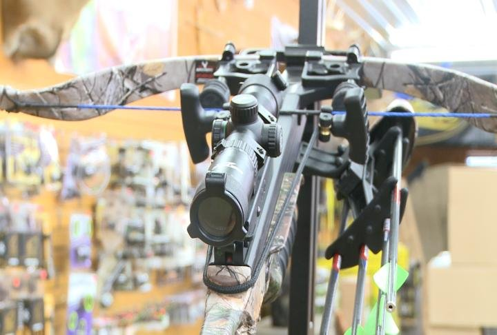 A crossbow inside of Pike County Archery