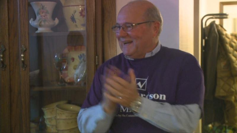 Richardson at his home after learning he won the mayoral race.