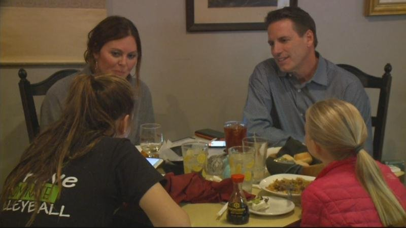 Randolph eating dinner with his family on election night.