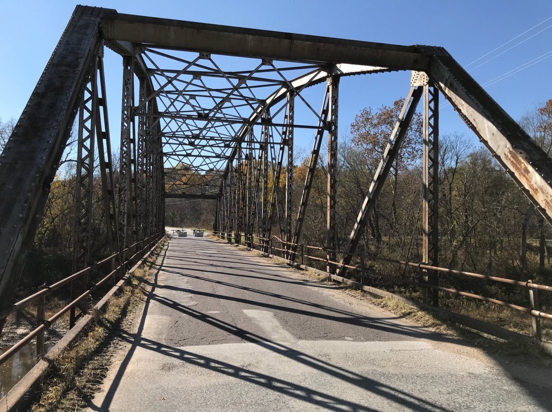 The closed bridge in Taylor, Missouri