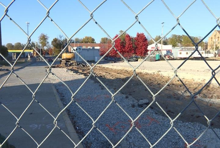 Section of 6th Street has been torn out to make way for the new Adams County Jail.