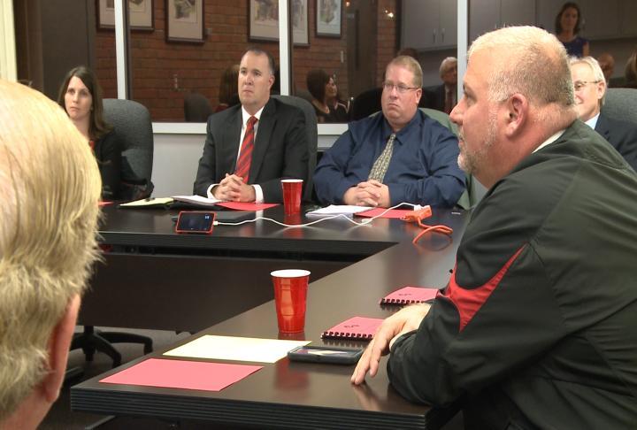 Members of Hannibal School Board listening to candidates make their plea.